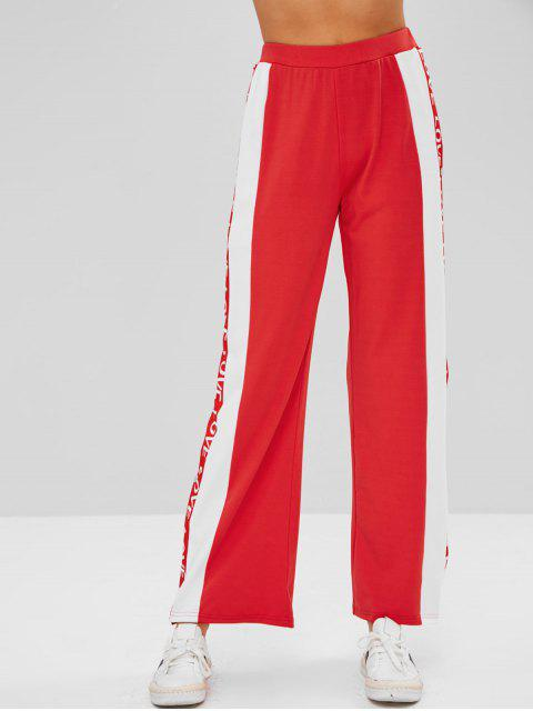 Pantalón con botones laterales con botones de amor - Rojo L Mobile