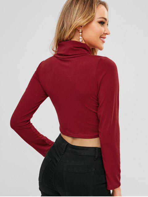 outfits Cowl Neck Plain Crop Tee - RED WINE M Mobile