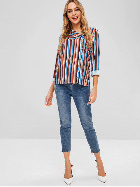 women's Stripe Pattern Irregular Blouse - MULTI-A S Mobile