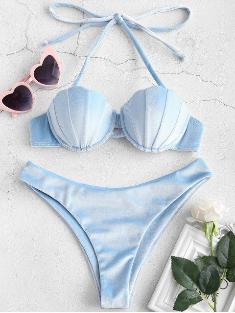 fashion ZAFUL Shell Velvet Mermaid Bikini Set - LIGHT BLUE M Mobile