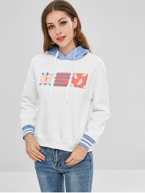 best Apple Print Loose Fitting Fleece Hoodie - WHITE L Mobile