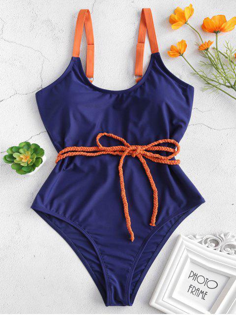 latest ZAFUL Braided Belt One Piece Swimsuit - LAPIS BLUE M Mobile