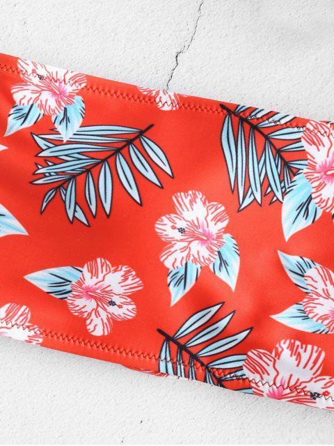 latest ZAFUL Floral Lace-up Bandeau Bikini Set - MULTI M Mobile