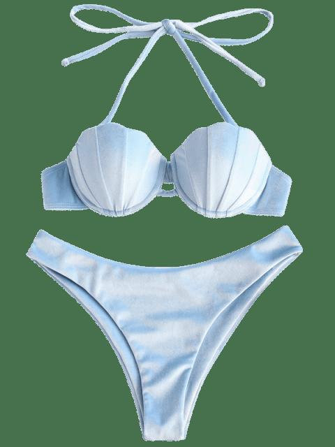 chic ZAFUL Shell Velvet Mermaid Bikini Set - LIGHT BLUE L Mobile