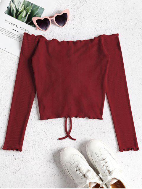 Haut à épaules dénudées - Rouge Vineux S Mobile