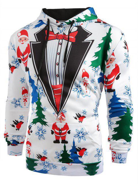 new Christmas Tree Santa Printed Drawstring Hoodie - WHITE M Mobile