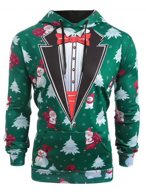 fashion Faux Coallar Santa Claus Snowmen Printed Christmas Hoodie - PINE GREEN M Mobile