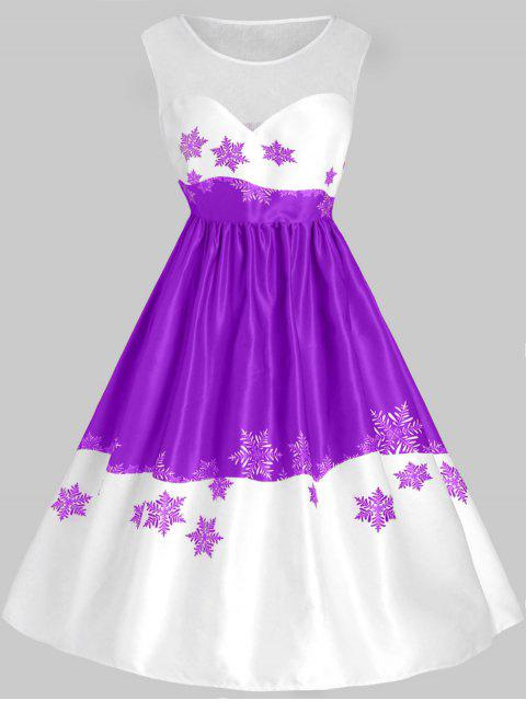 Plus Size Mesh Panel Snowflake Christmas Vintage Dress - 紫色 L Mobile