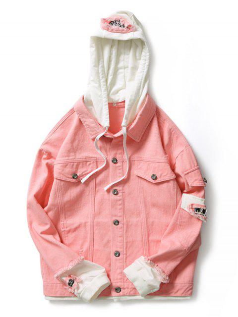 outfit Casual Faux Pocket Ripped Letter Number Applique Hooded Jacket - LIGHT PINK L Mobile