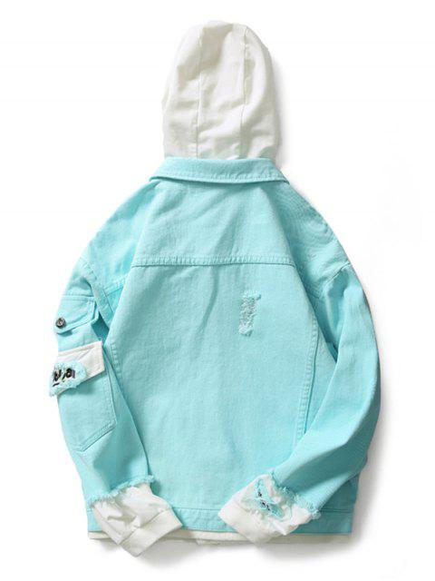 shops Casual Faux Pocket Ripped Letter Number Applique Hooded Jacket - TRON BLUE M Mobile