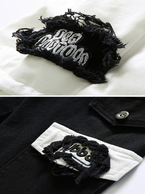 Veste à Capuche Décontractée Déchirée Applique Embellie avec Lettre et Chiffre - Noir 2XL Mobile