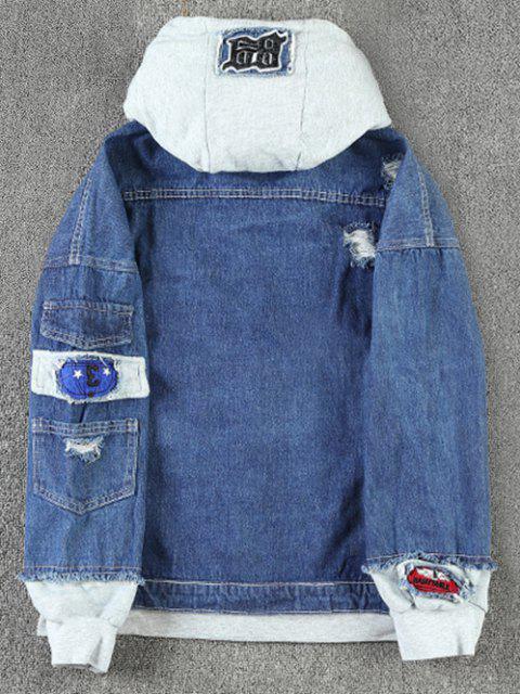 Veste à Capuche Décontractée Déchirée Applique Embellie avec Lettre et Chiffre - Bleu profond M Mobile