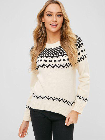ZAFUL Geometric Graphic Textured Sweater - White