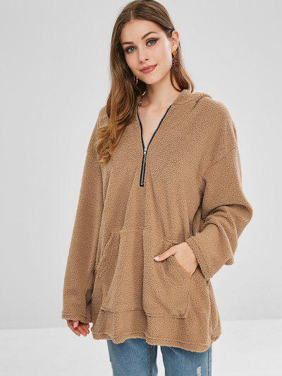 Pocket Longline Fluffy Hoodie - Light Khaki S