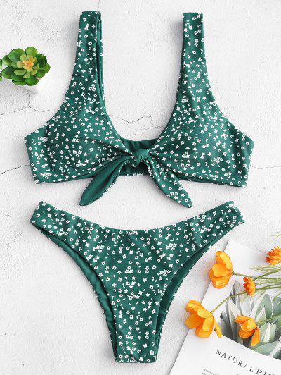Biquíni De Cintura Baixa E Estampa Floral - Verde Médio Do Mar S