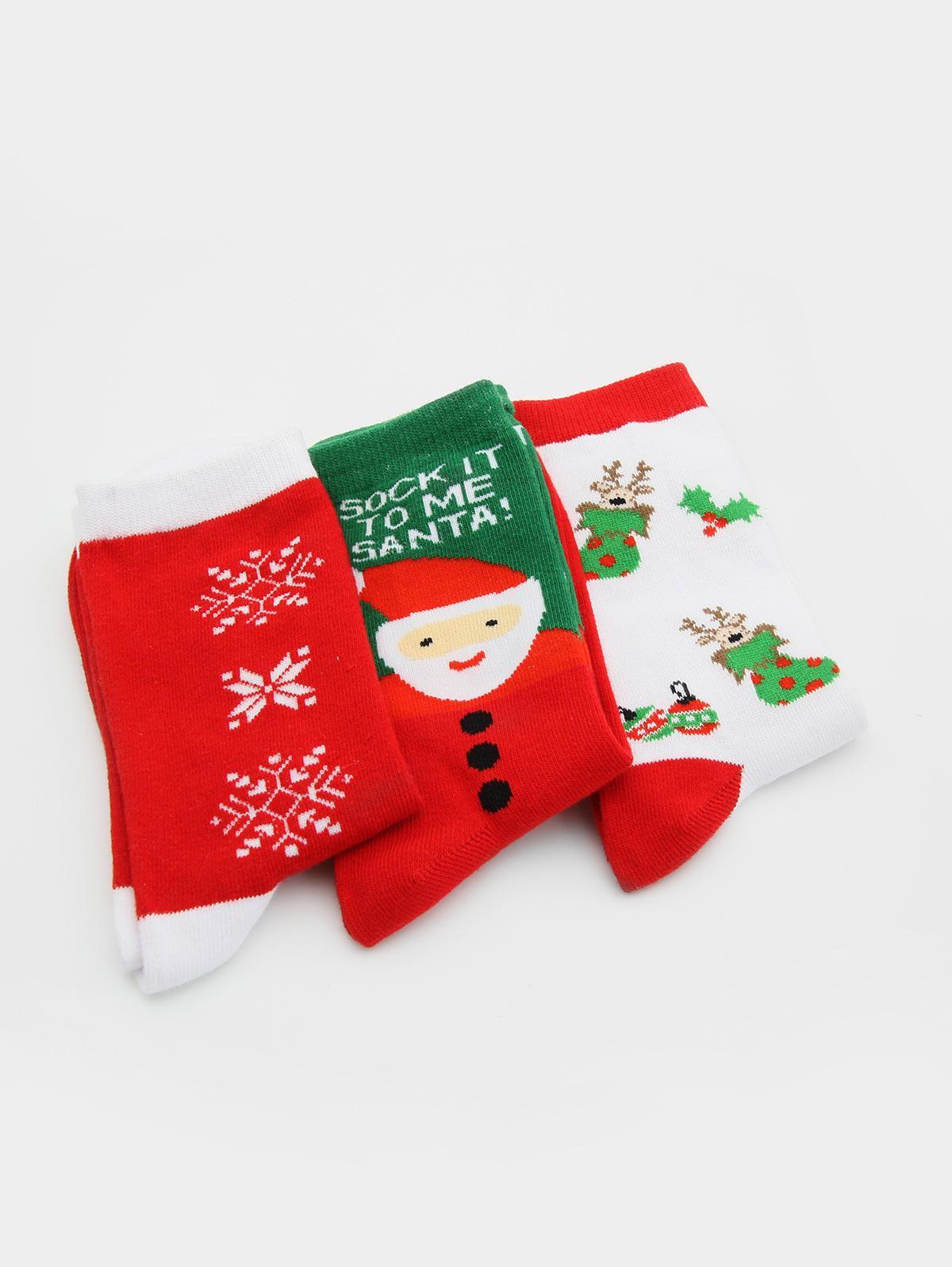 3 Pairs Santa Claus Elk Printing Winter Socks