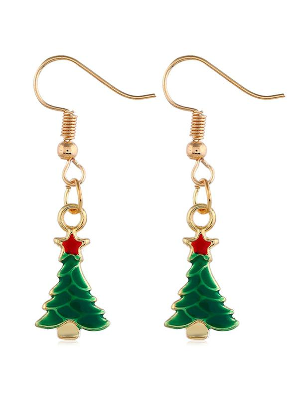 Star Christmas Tree Decoration Drop Earrings, Gold