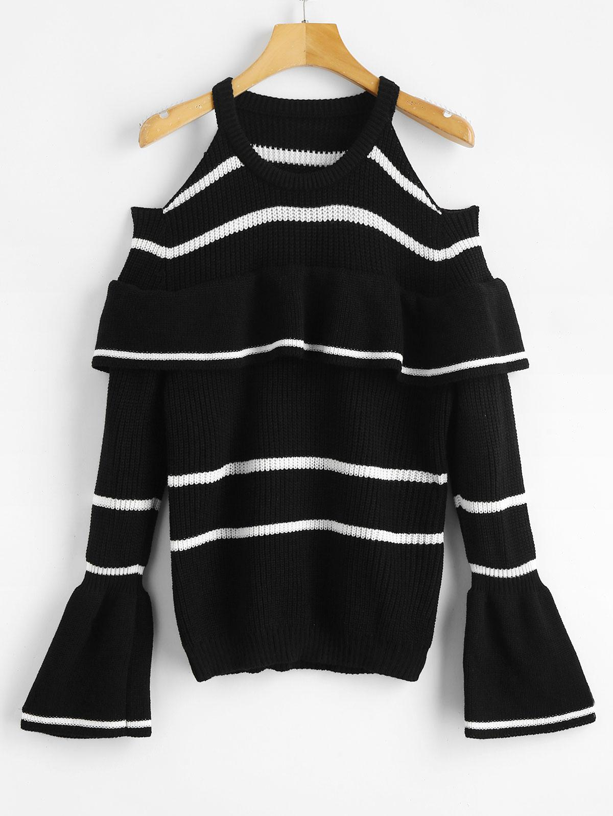 Cold Shoulder Flounce Striped Sweater
