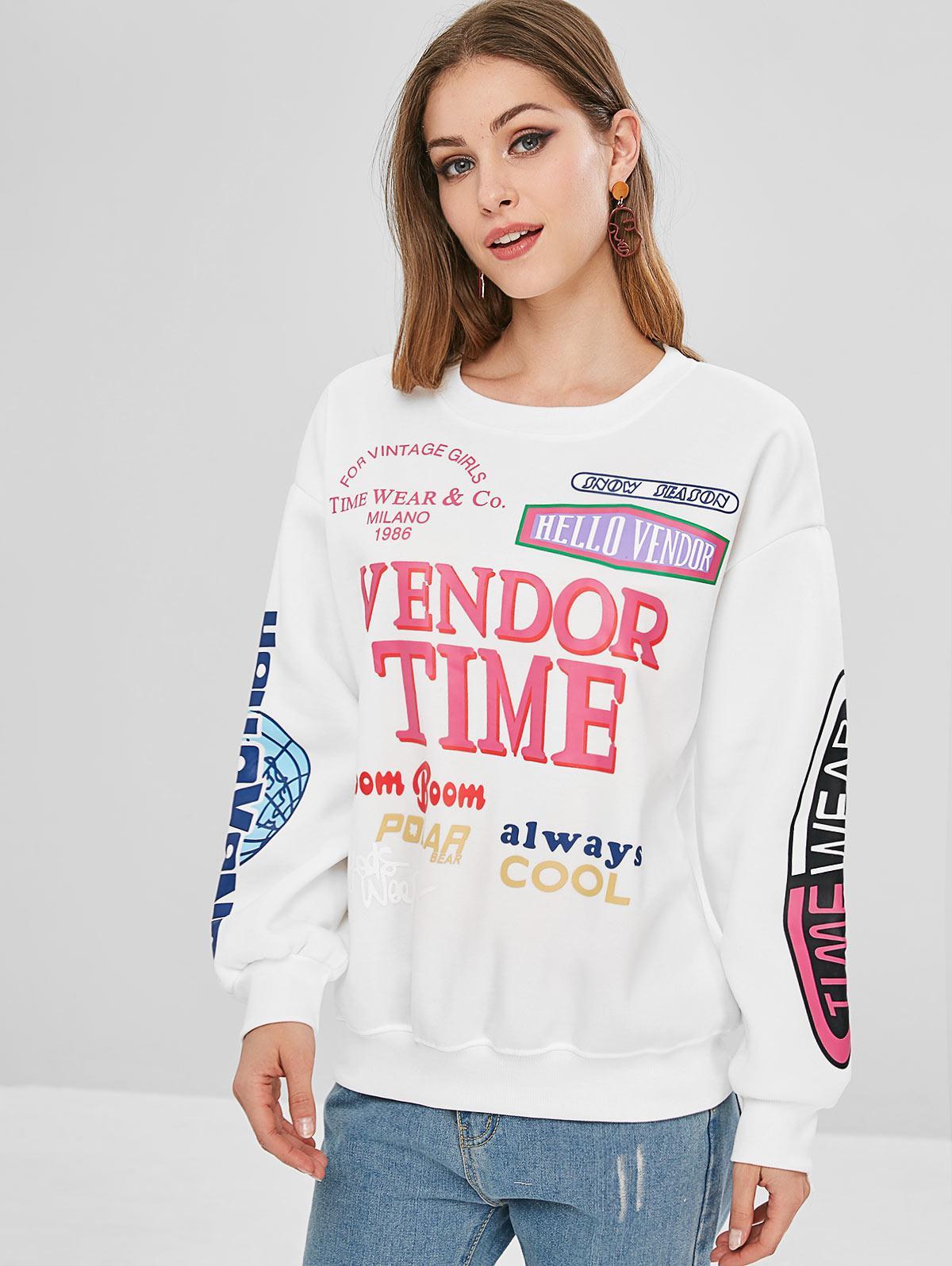 Round Collar Fleece Graphic Sweatshirt