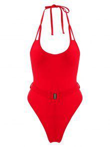 ZAFUL حزام الرسن السامي قص ملابس السباحة - الحمم الحمراء S