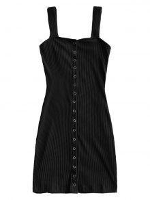 فستان مصغر زر محبوك - أسود M