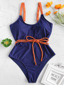 ZAFUL مضفر حزام قطعة واحدة ملابس السباحة - اللازورد الأزرق M