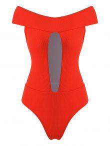 ZAFUL Ribbed معطلة الكتف انقطاع ملابس السباحة - برتقالية زاهية S