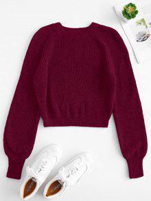 Raglan Sleeves Crop Sweater - الطوب شمت M
