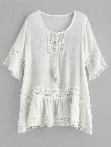فستان شيفون مزين بشراشيب - أبيض