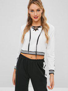 Striped Lace Up Front Cropped Hoodie