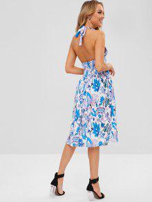 فستان منقوش بالزهور - متعدد L