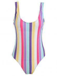 ZAFUL Rainbow Stripe One Piece Swimsuit - متعدد M