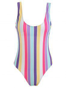 ZAFUL Rainbow Stripe One Piece Swimsuit - متعدد L
