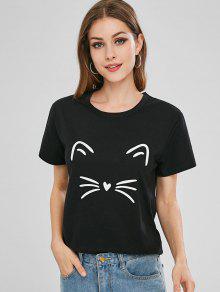 القطة الجرافيك قصيرة الأكمام تي شيرت - أسود S