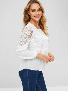 f573a798c4cd6 28% OFF   HOT  2019 Lace Panel Round Neck Blouse In WHITE