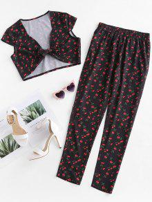 ZAFUL Cherry Crop Top And Pants Two Piece Set - أسود M