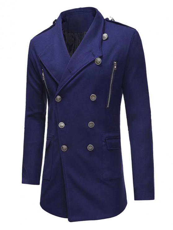 shops Double Breasted Trench Woolen Coat - BLUE S