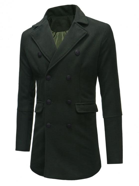 chic Double Breasted Back Split Woolen Coat - ARMY GREEN S