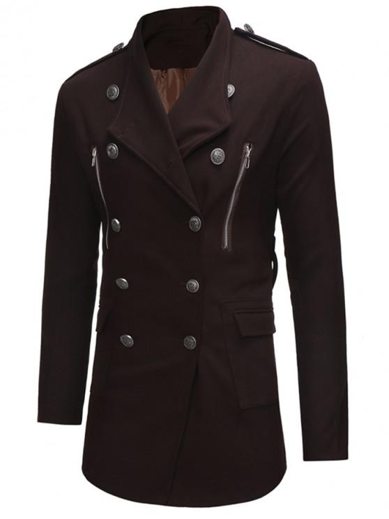 unique Double Breasted Trench Woolen Coat - COFFEE S