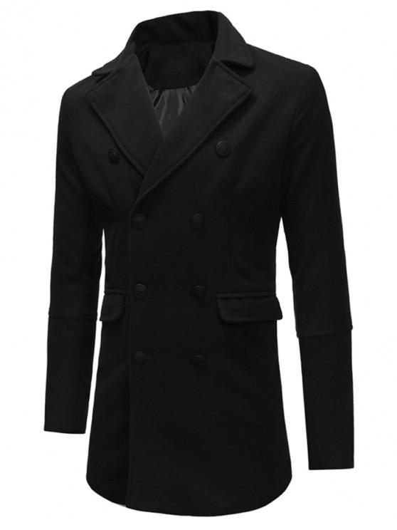buy Double Breasted Back Split Woolen Coat - BLACK M