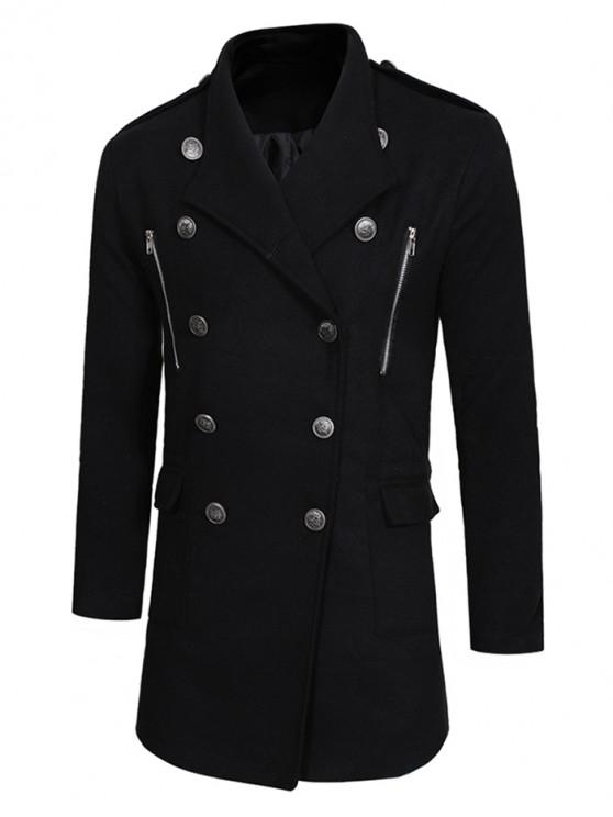 womens Double Breasted Trench Woolen Coat - BLACK XS