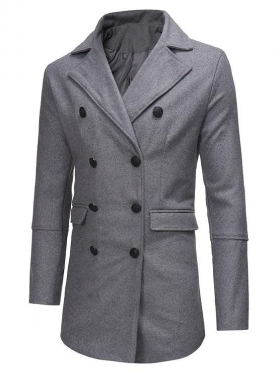 lady Double Breasted Back Split Woolen Coat - GRAY M