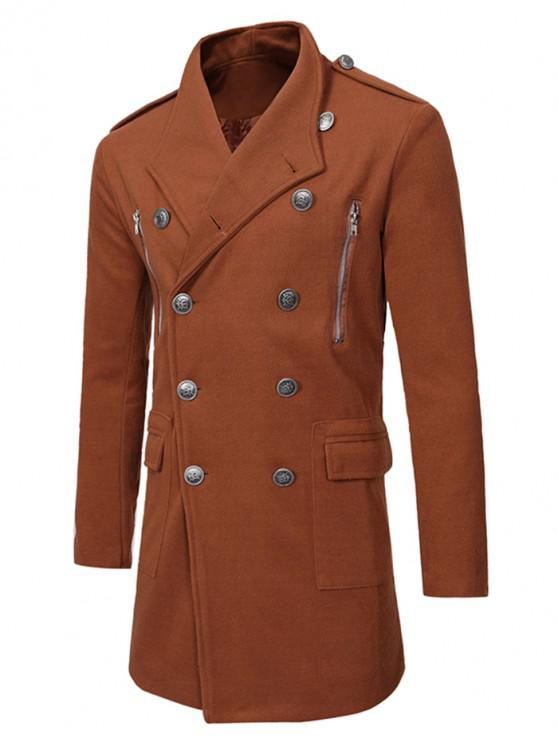 shop Double Breasted Trench Woolen Coat - CAMEL BROWN M