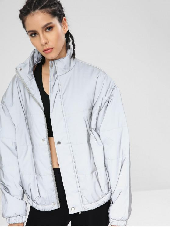 8799011bc851 33% OFF] 2019 Reflective Silver Puffer Zip Jacket In PLATINUM | ZAFUL
