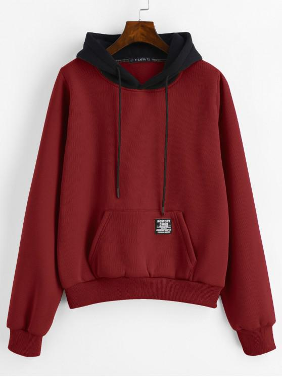 outfit ZAFUL Pouch Pocket Fleece Pullover Hoodie - RED WINE M