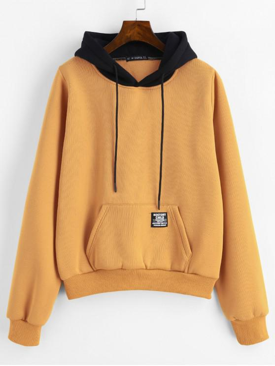 shops ZAFUL Pouch Pocket Fleece Pullover Hoodie - BEE YELLOW M