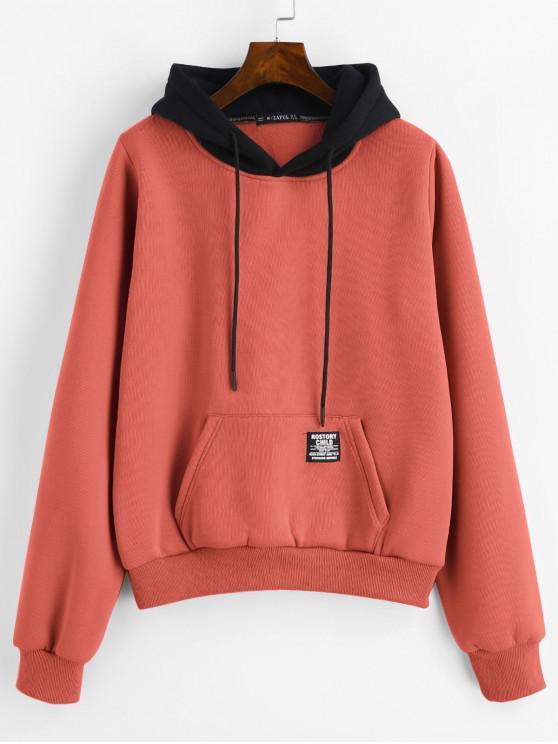 fancy ZAFUL Pouch Pocket Fleece Pullover Hoodie - SUNRISE ORANGE S