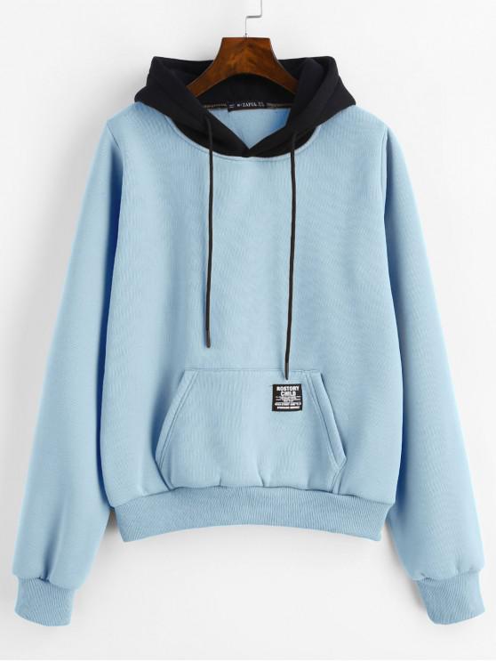 womens ZAFUL Pouch Pocket Fleece Pullover Hoodie - DENIM BLUE L