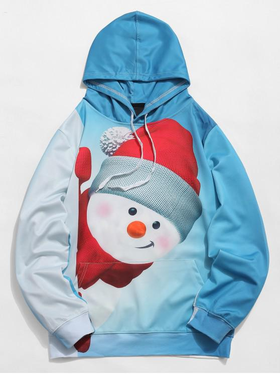 women's Kangaroo Pocket Snowman 3D Print Christmas Hoodie - LIGHT BLUE 2XL