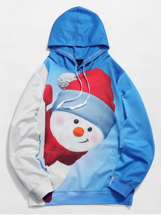 trendy Kangaroo Pocket Snowman 3D Print Christmas Hoodie - CRYSTAL BLUE 2XL